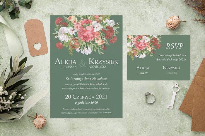 Zaproszenie ślubne jednokartkowe - Kolorowe Bukiety - wzór 6