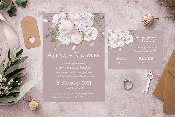 Zaproszenie ślubne jednokartkowe - Kolorowe Bukiety - wzór 7