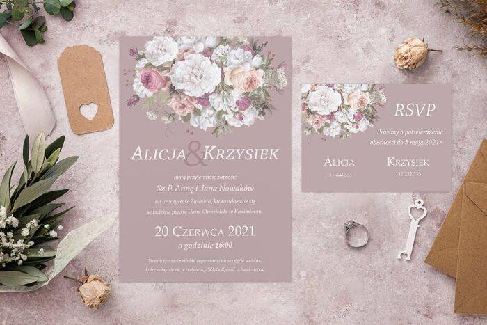 Zaproszenie ślubne jednokartkowe - Kolorowe Bukiety - wzór 8