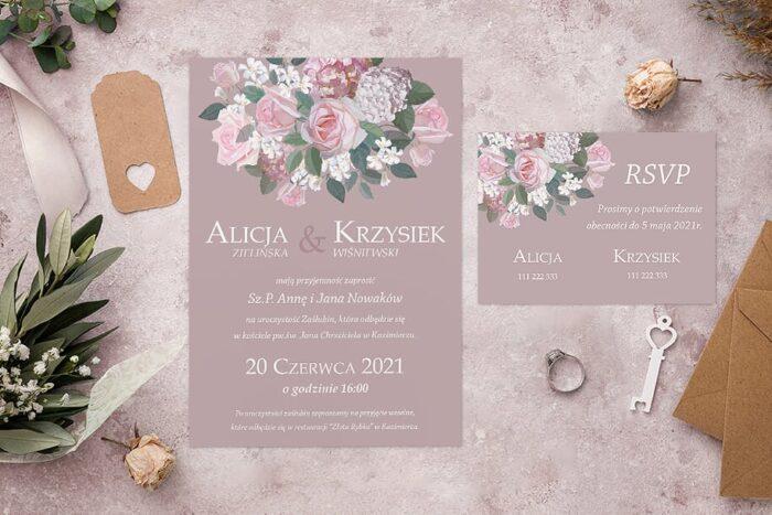 Zaproszenie ślubne jednokartkowe - Kolorowe Bukiety - wzór 9