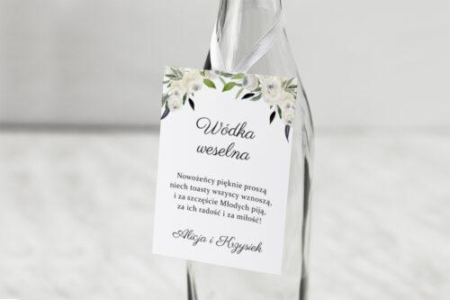 Zawieszka na alkohol do zaproszenia jednokartkowe - Białe kwiaty