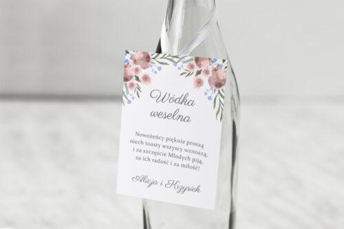 Zawieszka na alkohol do zaproszenia jednokartkowe - Polne kwiaty