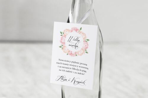 Zawieszka na alkohol do zaproszeń Wianki z kokardą - Herbaciane Róże
