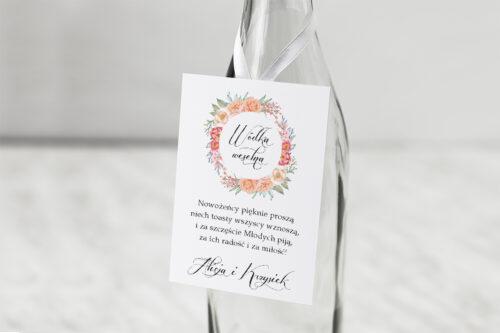 Zawieszka na alkohol do zaproszeń Wianki z kokardą - Herbaciany Wianek