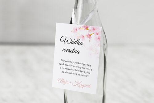 Zawieszka na alkohol do zaproszeń Zdjęcie&Kalendarz w folderze – Kwiaty jabłoni