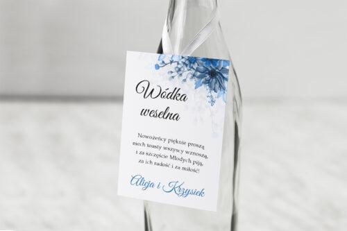 Zawieszka na alkohol do zaproszeń Zdjęcie&Kalendarz w folderze – Niebieski bukiet