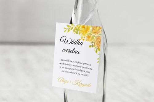 Zawieszka na alkohol do zaproszeń Zdjęcie&Kalendarz w folderze – Żółte róże