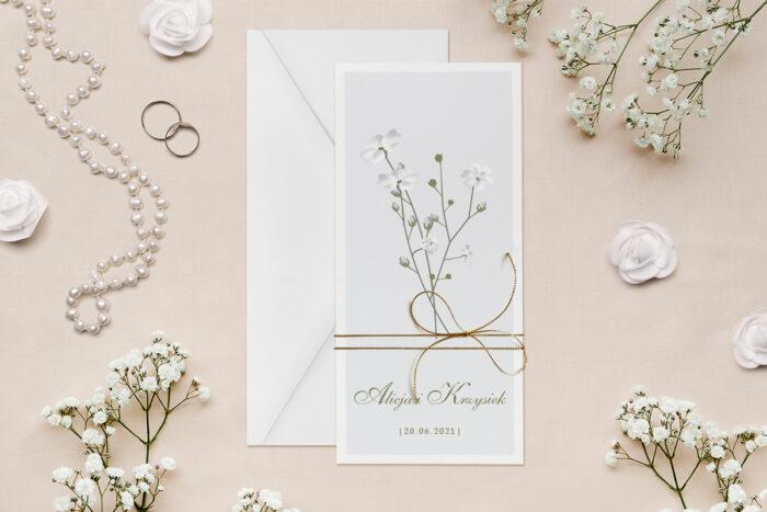 zaproszenie-slubne-minimalistyczne-z-kwiatem-rogownica-papier--dodatki--koperta-bez-koperty