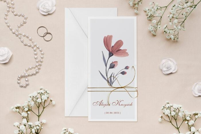 zaproszenie-slubne-minimalistyczne-z-kwiatem-kosmosy-papier--dodatki--koperta-bez-koperty