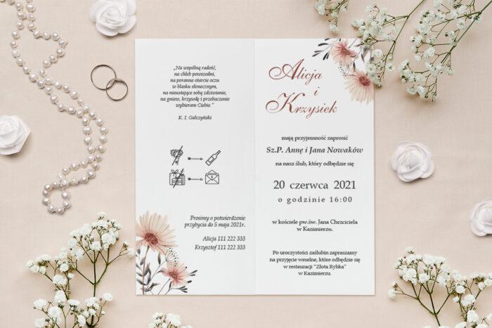 zaproszenie ślubne nagietek