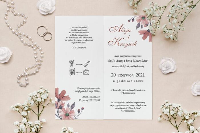 zaproszenie ślubne minimalistyczne z kwiatami