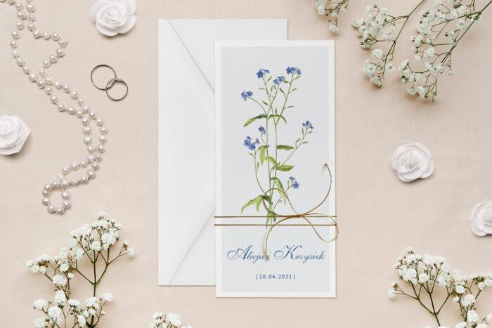 zaproszenie-slubne-minimalistyczne-z-kwiatem-niezapominajka-papier--dodatki--koperta-bez-koperty