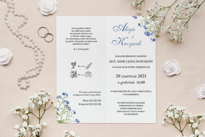 zaproszenie ślubne z kwiatami niezapominajka