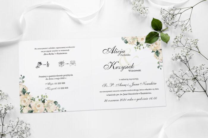 zaproszenie ślubne kwadratowe w białe hortensje