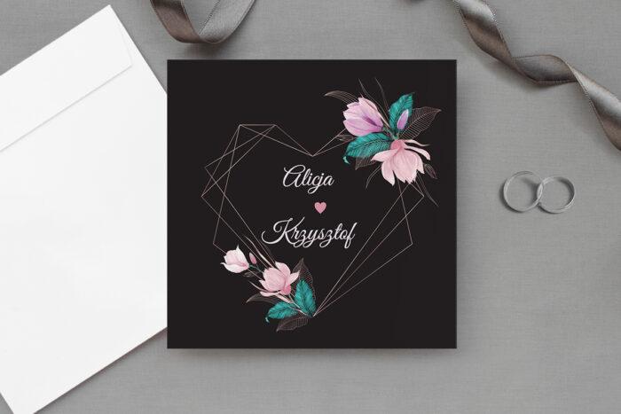 zaproszenie ślubne ciemne z geometrycznym sercem z kwiatami