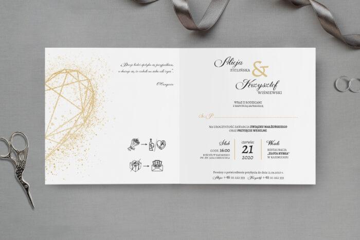 zaproszenie ślubne z geometrycznym złotym sercem
