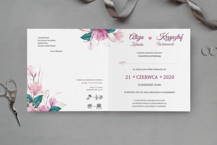 zaproszenie ślubne z geometrycznym sercem z kwiatami