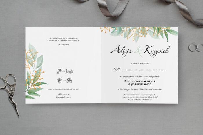 zaproszenie ślubne listki ze złotem