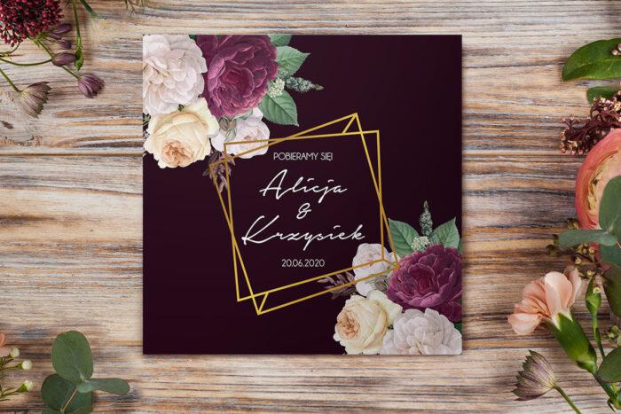 eleganckie-zaproszenie-slubne-kontrastowe-z-kwiatami-kolorowe-roze-papier-matowy-koperta-bez-koperty