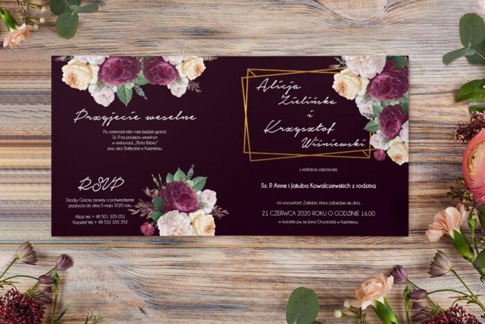 zaproszenie kontrastowe z różami