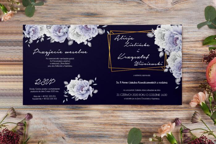 zaproszenie z niebieskimi różami
