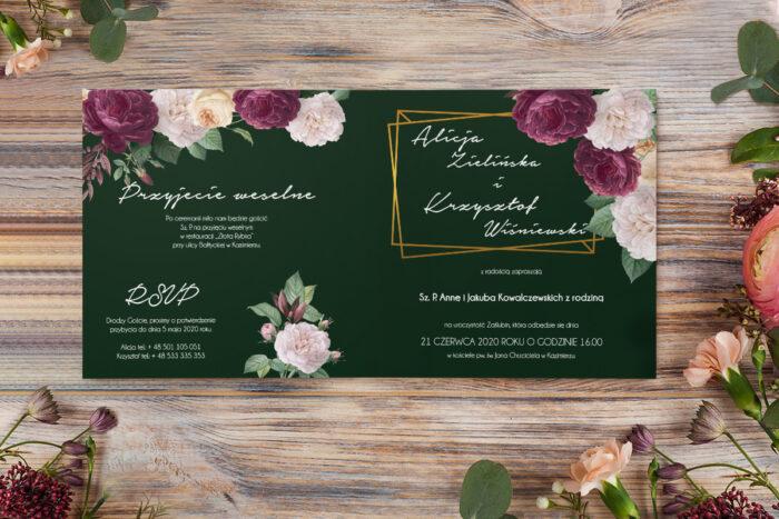 zaproszenie z różami na zielonym tle