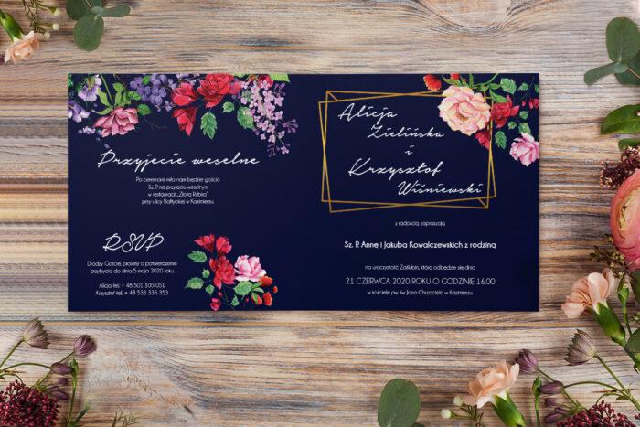 zaproszenie ślubne z różyczkami