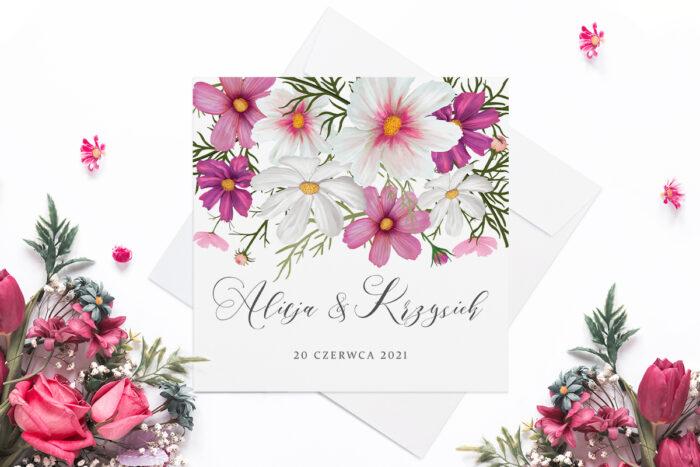 eleganckie-zaproszenie-slubne-rozowy-motyw-kosmosy-papier-matowy-koperta-bez-koperty
