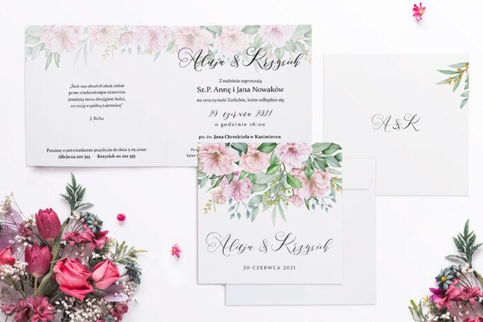 zaproszenie ślubne z motywem kwiatów wiśni