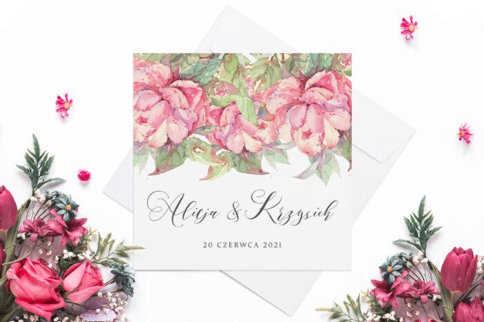 eleganckie-zaproszenie-slubne-rozowy-motyw-magnolie-papier-matowy-koperta-bez-koperty