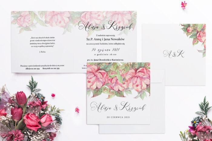 zaproszenie ślubne z motywem magnolii
