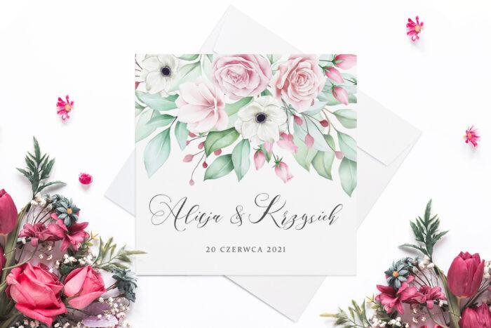 zaproszenie ślubne róże i anemony