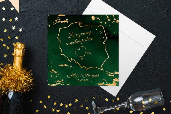 eleganckie-zaproszenie-slubne-szmaragdowe-papier-matowy-koperta-bez-koperty