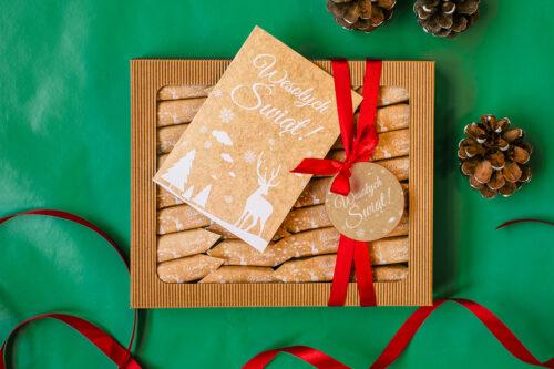 zestaw świąteczny z krówkami i kartką - styl skandynawski
