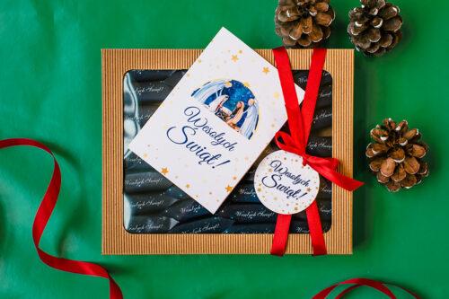 zestaw świąteczny z krówkami i kartką - stajenka