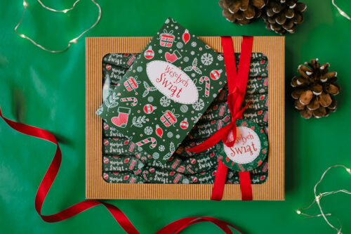 zestaw świąteczny zielony z krówkami i kartką
