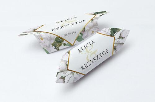 Krówki ślubne 1 kg - Geometryczne Kwiaty - Białe Róże