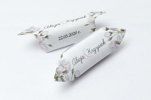 Krówki ślubne 1 kg do zaproszenia Kwiaty Vintage – Białe Róże