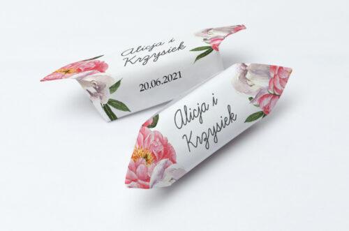 Krówki ślubne 1 kg - Kwiatowe Tła - Koralowe Kwiaty
