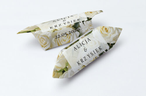 Krówki ślubne 1 kg - Fotograficzne Kwiaty - Białe Róże