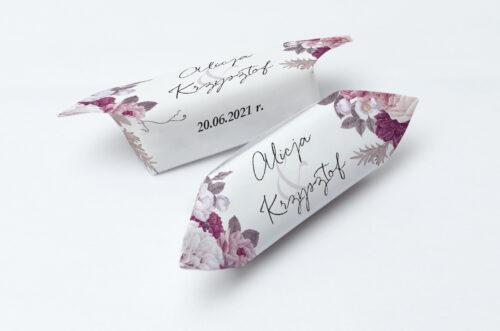 Krówki ślubne 1 kg Jednokartkowe z Kwiatami – Kwiecista kompozycja