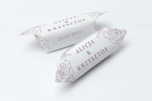 Krówki ślubne 1 kg - Rysunkowe kwiaty DL - Konturowe Róże