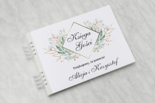 Księga gości ślubnych - Geometryczne Kwiaty - Gałązki ze Złotem