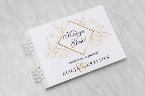 Księga gości ślubnych - Z nawami- Geometryczne Kwiaty - Złote Róże