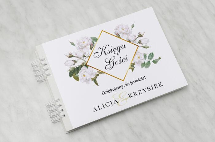 ksiega-gosci-slubnych-geometryczne-kwiaty-biale-roze-papier-satynowany-dodatki-ksiega-gosci