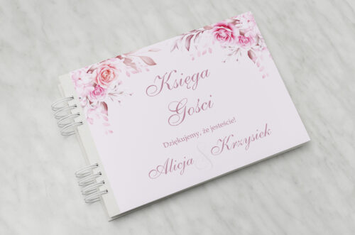 Księga gości ślubnych - Akwarelowe Bukiety – Róże na pudrowym tle
