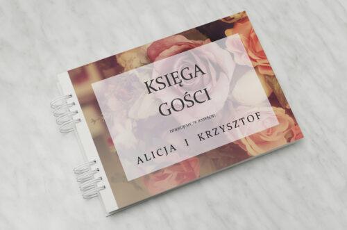 Księga gości ślubnych do zaproszenia Fotograficzne Kwiaty - Herbaciane Róże