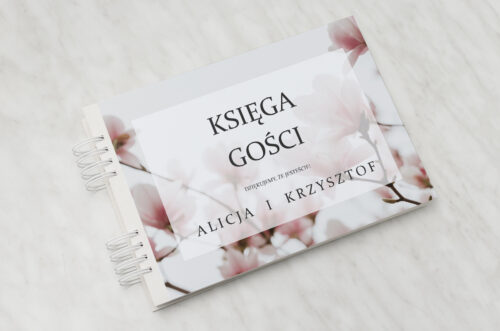 Księga gości ślubnych do zaproszenia Fotograficzne Kwiaty - Subtelna Magnolia