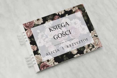 Księga gości ślubnych do zaproszenia Fotograficzne Kwiaty - Rysunkowe Kwiaty