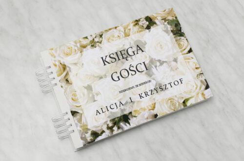 Księga gości ślubnych do zaproszenia Fotograficzne Kwiaty - Białe Róże